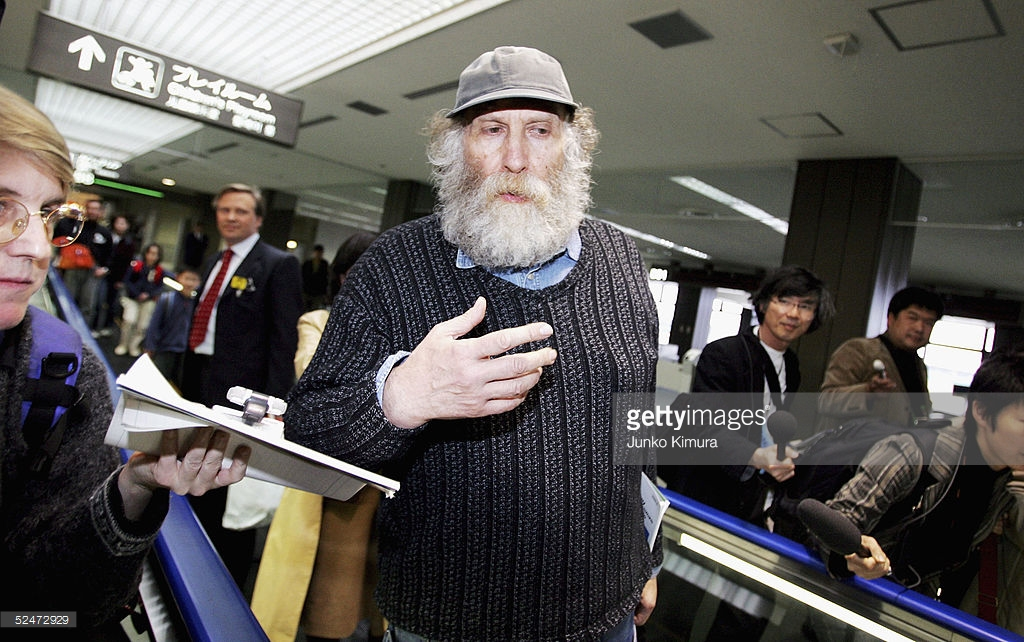 NARITA, JAPAN - MARCH 24: Chess legend Bobby Fischer appears at New Tokyo International Airport for a departure March 24, 2005 in Narita, Japan. Fischer was released from custody in Japan March 24, 2005 after nearly nine months in detention. He is scheduled to depart for Denmark en route to Iceland. (Photo by Junko Kimura/Getty Images) *** Local Caption *** Bobby Fischer