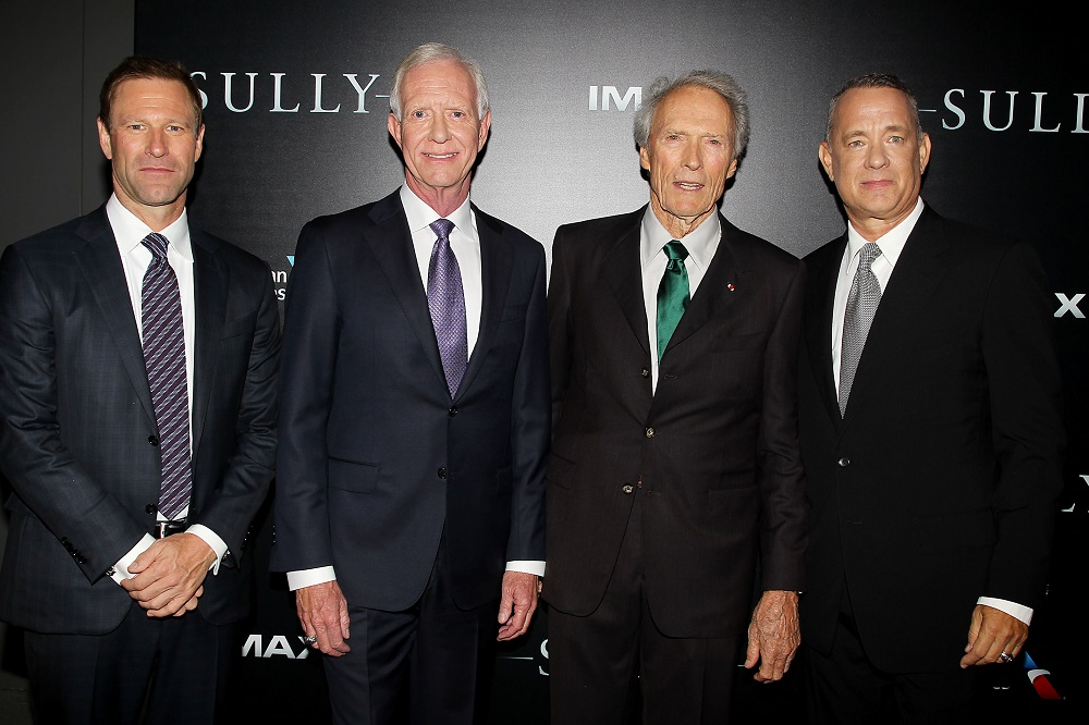 "Daily News Out - New York, NY - 9/6/16 - Warner Bros. Pictures Presents In Association With Village Roadshow Pictures Presented In IMAX The New York Premiere of ""SULLY"" the film stars Tom Hanks and was directed by Clint Eastwood . - Pictured: Aaron Eckhart ,Chesley ""Sully"" Sullenberger ,Clint Eastwood and Tom Hanks -Photo by: Dave Allocca/Starpix"