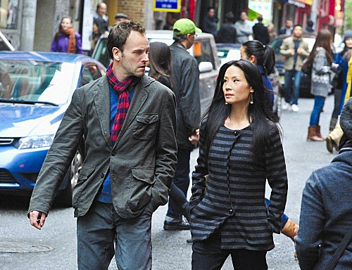 """""""You Do It To Yourself""""-- Sherlock (Jonny Lee Miller) and Watson (Lucy Liu) investigate the brutal murder of a college professor, on ELEMENTARY, Thursday, Dec. 6 (10:00-11:00 PM, ET/PT) on the CBS Television Network. Photo: John P. Filo /CBS ©2012 CBS Broadcasting, Inc. All Rights Reserved"""